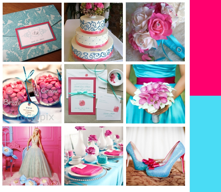 Colour inspiration hot pink crafty brides for Wedding pink and blue